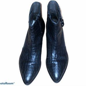 Napoleoni Black Croc Look Leather Ankle Boots
